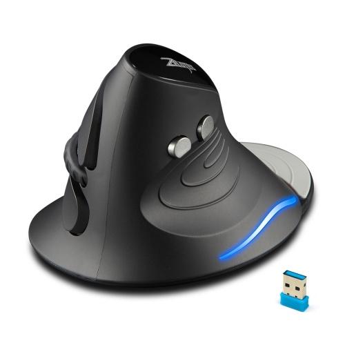 Вертикальная мышь ZELOTES F-17, 2,4 ГГц, беспроводная игровая мышь, 6 клавиш, эргономичные оптические мыши с 3 регулируемыми точками на дюйм для портативных ПК