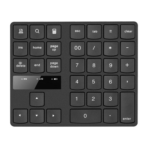 2.4G Wireless Numeric Keyboard Portable 35 Keys Financial Accounting Office Keyboard Built-in Rechargeable Battery Black