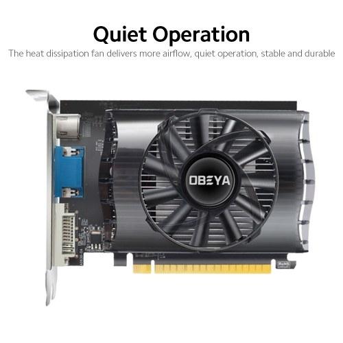 OBEYA GT730 2G Gaming Graphic Card 2G/128bit/DDR3 Memory 1600MHz Memory Clock Frequency DVI-D+HD+VGA Output Ports