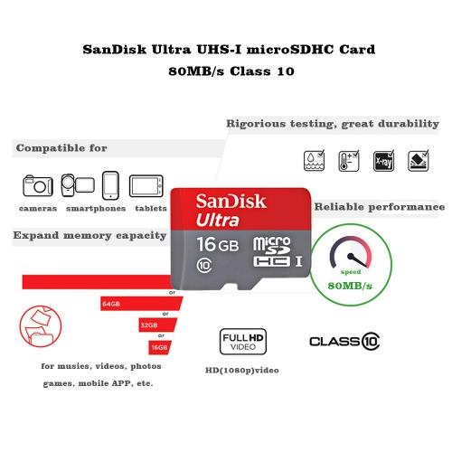 genuine sandisk ultra 16gb microsdhc uhs-i tf flash memory card