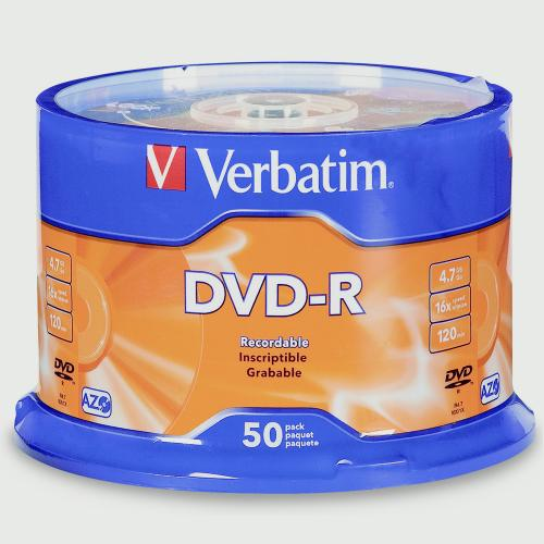 Verbatim DVD-R 4.7GB 120min 16X 50PK Spindle Branded Recordable Media Disc Compact Write Once Data Storage DVD 95101