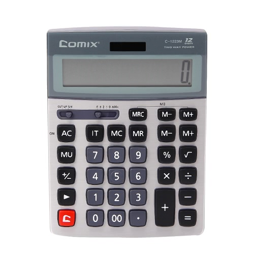 Comix C-1223M função padrão do Desktop Calculator Solor e bateria Dual Power com chute stand para a escola Home Office