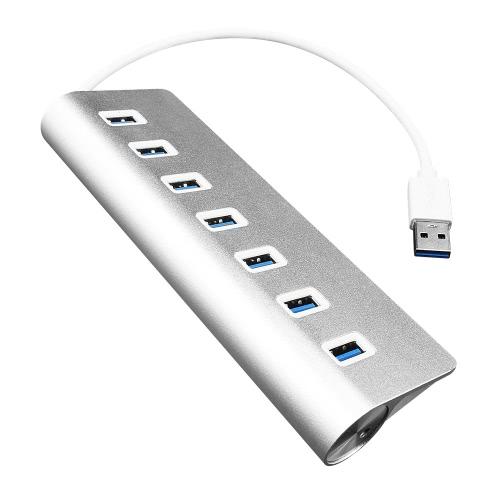 Hub USB com 7 portas USB3.0 High Speed Hub Plug and Play para Mac PC USB Flash Drives Silver