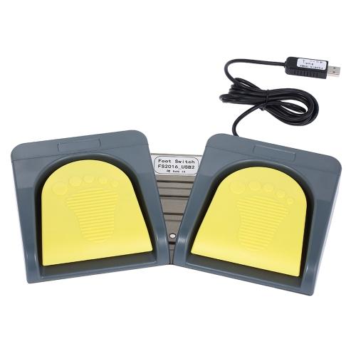 PCsensor USB 2 Klawiatura sterująca nożną Klawiatura Klawiatura multimedialna Gamepad Mouse String Pedał Szary z żółtym