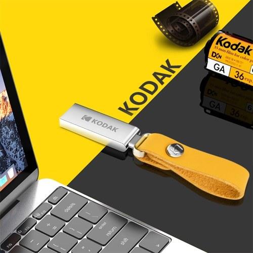 Kodak K123 16G U Festplatte Metall Tragbares USB-Flash-Laufwerk Wasserdichter Mini-Memory Stick Auto-Stiftantriebe Flashdisk USB3.0 Silber mit Sling