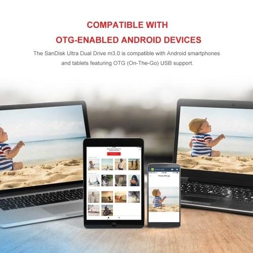 SanDisk DD3 USB Flash Drive 16GB Pen Drive OTG Pendrives Mini Flash Drive USB3.0 Fast Speed for Android Phone PC