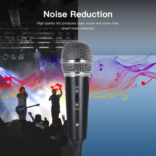 Wired Condenser Microphone Audio 3.5mm Studio Mic Vocal Recording KTV Karaoke Mic with Stand for PC Phone