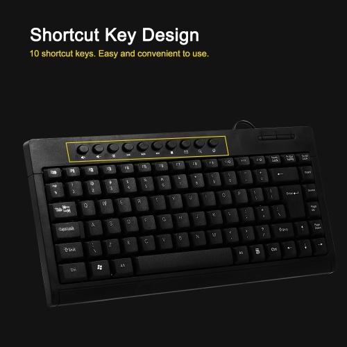 Мультимедийная клавиатура Проводная бесшумная клавиатура Водонепроницаемая игровая клавиатура для портативных ПК USB-клавиатура (черная) фото