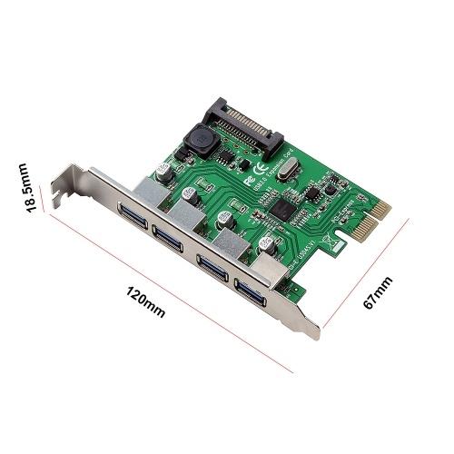 Интерфейс карты расширения портов PCI-E - четыре USB3.0 Карта адаптера PCI Express 15PIN для настольных ПК