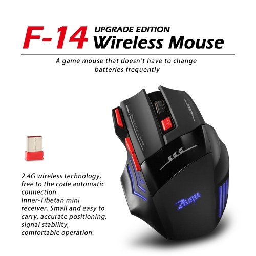 Zelotes F-14 Wireless Gaming Mouse Upgrade Edition Rechargeable Mice Adjustable 4000DPI Optical 2.4G Wireless Technology 30m фото