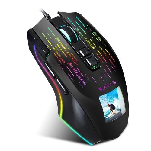 HXSJ J500 Mouse da gioco cablato USB Mouse da gioco RGB con schermo Sei DPI regolabili per laptop desktop