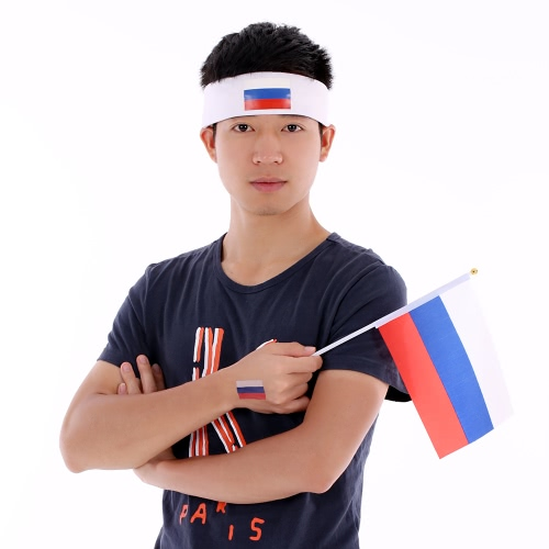 Anself Flag Bandband Head Band Sweatband Cheering Squad Football Soccer Sports Fans Headwear Carnival Festival Costume + Anself 10pcs / set Russie National Flag Tatouages ​​temporaires Body Face Tattoo Sticker Patriotic Tattoos
