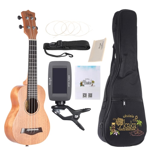 "KAKA KUS-25D 21 ""Solide Mahagoni Top Ukulele 4 Strings Palisander Griffbrett mit Gig Bag Tuner Strings Set Reinigungstuch Neck Strap"