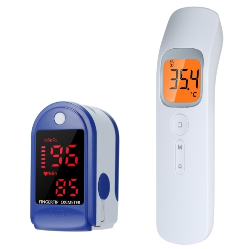P30 Non Contact IR Infrared Thermometer + LED Blood Oxygen Monitor Fast Reading Finger Pulse Oximeter Blue