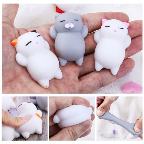 4Pcs Cat Colorful Adorable Cute Animal Hand Wrist Squeezing Fidget Toys Squishy Mini Stress Relief Squeeze Doll Slow Risng Venting Ball