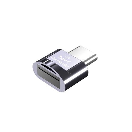 Mini Type-C Card Reader Support USB 3.1 Type-C Port Memory Card Reader for Type-C Port Phone Tablet Laptop Grey