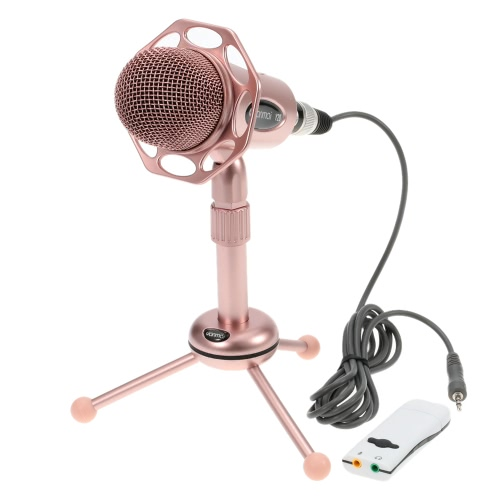 3.5mm Stereo Professional Studio Desktop Omnidirectional Condenser Sound Microphone Mic Recording for PC Laptop Skype MSN QQ Singing with Stable Tripod Stand