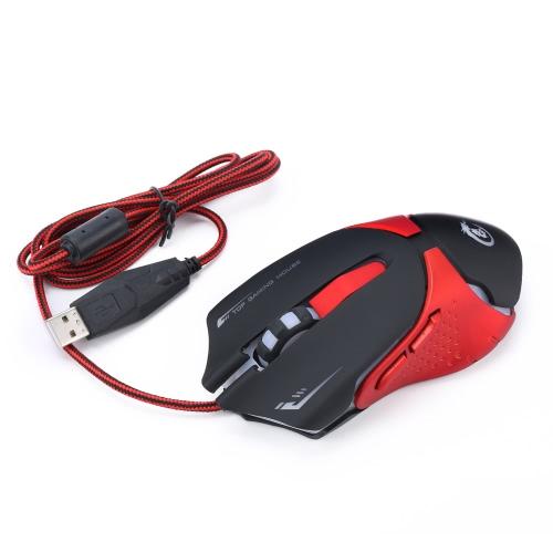 Ergonomiczny Optical Gaming Mouse Profesjonalne Esport Myszy Regulowany 3200 DPI Oddychanie LED 6 Przyciski USB Wired for Mac Laptop komputera PC
