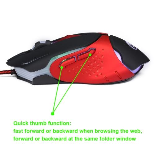 Эргономичная оптическая Professional Esport мышь Gaming Mice Регулируемая 3200 DPI Дыхательные светодиодные 6 Кнопки USB Проводная для Mac Ноутбук ПК Компьютер фото