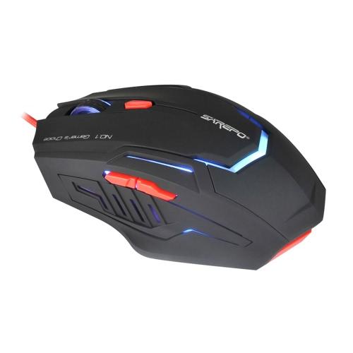 SAREPO Profesjonalne Esport 6 Przyciski optyczna USB Przewodowa Programowalny Gaming Mouse Regulowany 800/1200/1600/2400 DPI z kolorowym podświetleniem LED dla PC Gamer Pulpit Laptop Dota WOW LOL