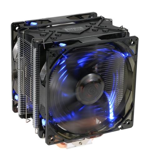 PCCOOLER 5 Heatpipes Radiator Quiet 4pin CPU Cooler Heatsink Вентилятор охлаждения с двумя 120-миллиметровыми светодиодными вентиляторами для настольного компьютера