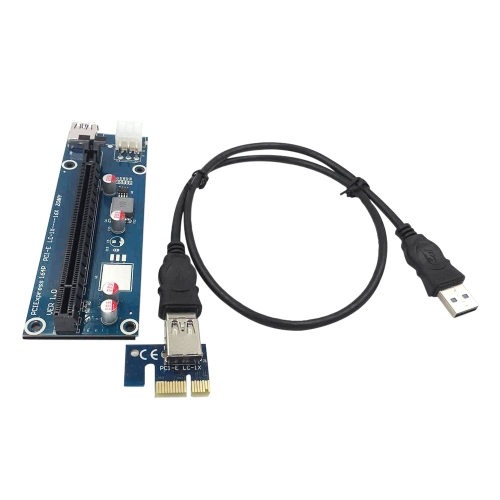 USB 3.0 PCI-E PCI Express Extension Cable 1X to 16X Extender Riser Mining Dedicated Graphics Card Adapter with SATA 15Pin-6Pin Power Cable USB Cable