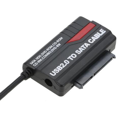 """Adaptador USB 2.0 para SATA Cabo de conversor de disco rígido para HDD SSD de 2,5 """"com cabo de alimentação 12V 2A para PC Laptop"""
