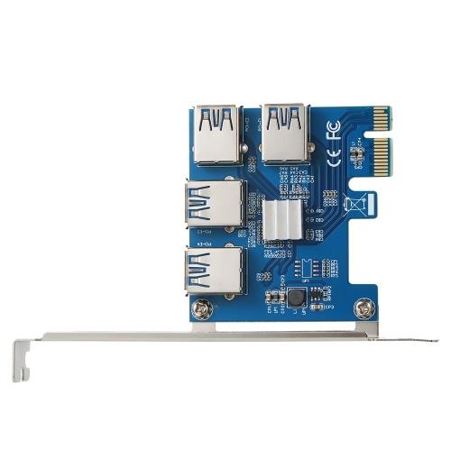 PCI Express Riser Card Extender 1X zu 4 PCI-E 16X Steckplätze für Mining Miner ETH BTC 4 in 1 PCIe Riser Adapterkarte USB3.0 PCI-e Rabbet Multiplier Card