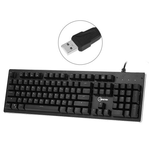 AOYEAH K100 Keyclick English Russian Mechaniczna klawiatura do gier Niebieskie przełączniki Podświetlana klawiatura do grania w gry