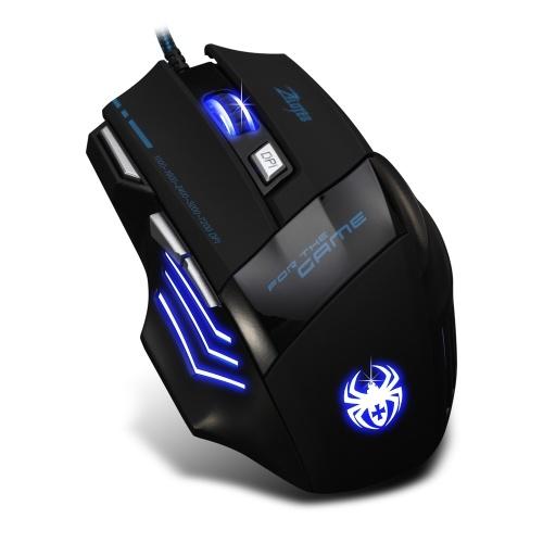 Игровая мышь ZELOTES T-80 7200 DPI Подсветка Многоцветный светодиодный оптический 7-кнопочный мышь Gamer USB Проводная игровая мышь для Pro Gamer фото