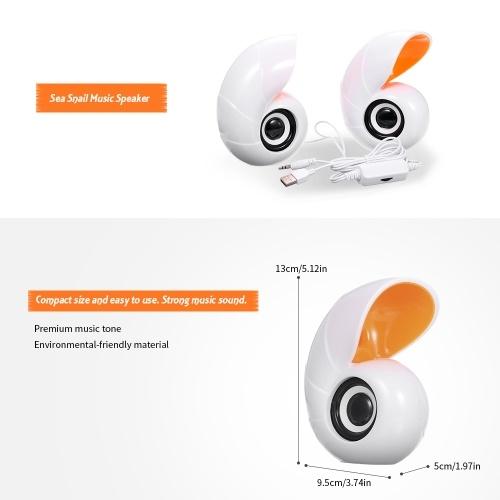 Sea Snail Music Speaker Desktop Speaker Mini Music Speaker with 3.5mm Jack for Laptop/MP3/Smartphones