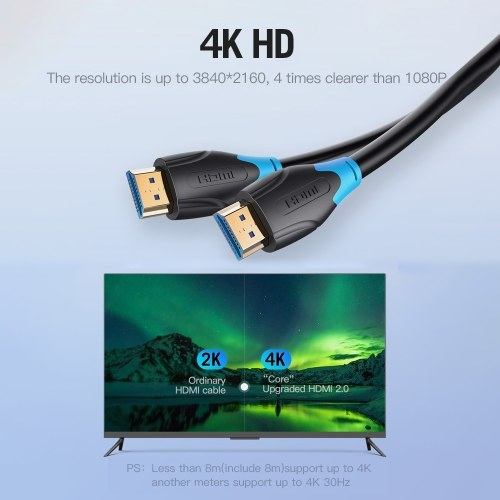 Vention Cable HDMI 4K Cable digital HD Cable de video 3D Cable de datos 10.2Gbps 18Gbps Proyector TV portátil Monitor LCD Caja de TV Cable 10m