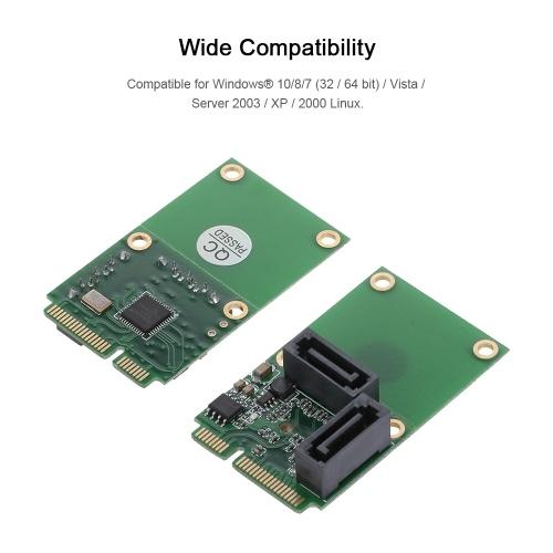 Карта расширения Mini-PCI-E на SATA3 Карта SATA3.0 Карта адаптера жесткого диска Mini PCIE 2 порта