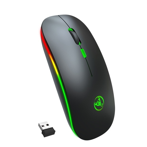 HXSJ T18 Dual Mode Mouse 2.4G Wireless Mouse BT Mouse Colorful Breathing Light Mute Mouse with Adjustable DPI for Laptop
