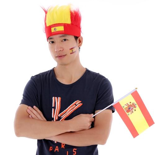 Anself Spain Flag Футбол Футбольные болельщики Wig Head Cap Кубок европейских чемпионов FIFA Кубок мира по спортивному карнавальному фестивалю Cosplay Costume + Anself 10pcs / set Испанский национальный флаг Временные татуировки на лицевой стороне татуировки на лице Татуировки на лицевой стороне Патриотические татуировки