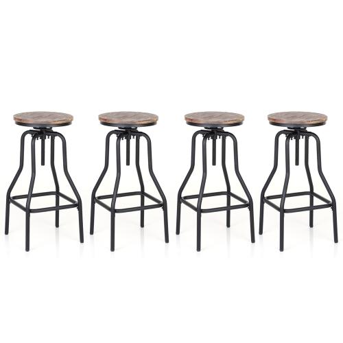 Lot de 4 Tabourets de bar de style industriel en bois et acier iKayaa