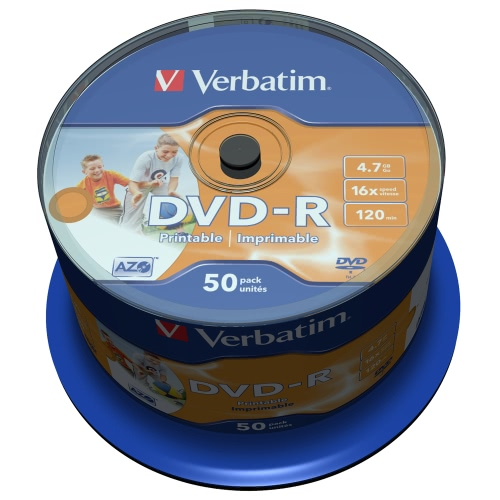 Verbatim DVD-R 4.7GB 120min 16X 50PK Spindle White Inkjet Printable Recordable Media Disc Blank Compact Write Once Data Storage DVD 43533
