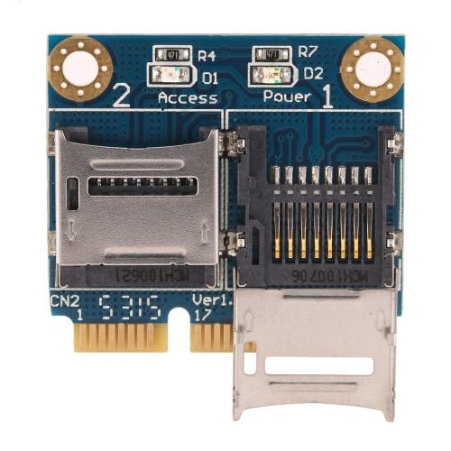 TF dupla para Mini PCI-E Express com metade Suporte Memory Card Adapter Leitor