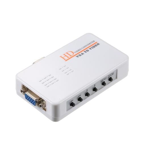 VGA para RCA S-Video Adapter PC Laptop para TV Video Converter Composite Switch Box