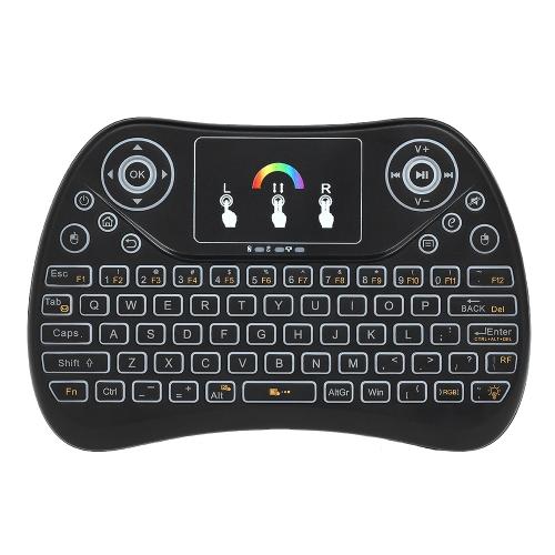Przenośna klawiatura bezprzewodowa 2.4G RGB Touchpad Podświetlana klawiatura Mini z odbiornikiem USB Plug and Play dla tabletu Android Box Tablet Black