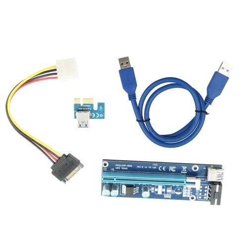 USB3.0 PCI-E 1X Para 16X Cabo De Extensão U38 Placa Azul