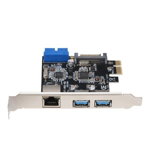 Scheda di espansione da PCI-E a USB3.0 2 Porte USB3.0 Alimentatore a 4 pin e supporto di rete Gigabit ad alta velocità PCI-E 1x / PCI-E 4x / PCI-E 8x / PCI-E16x
