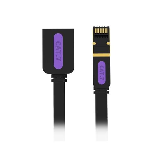 VENTION CAT 7 Cable de extensión de red 10 Gigabit Velocidad rápida Cable de red plano RJ45 Cable LAN para negocio en casa 10 m Negro