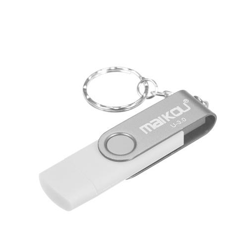MaiKou 2-in-1 USB 3.0-Flashlaufwerk USB-Flashlaufwerk Weiß & 128 GB