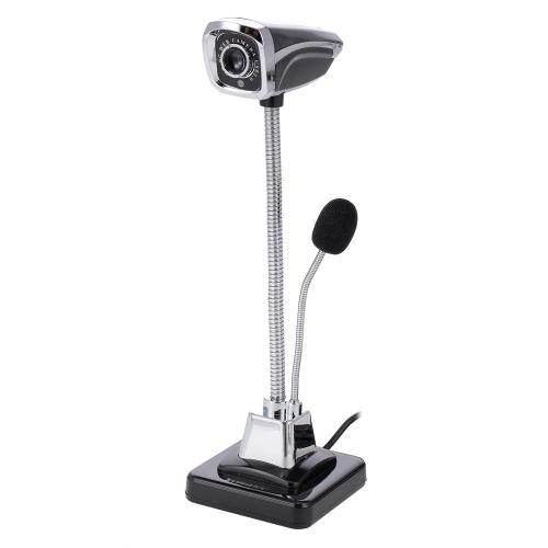 Веб-камера USB ПК Веб-камера с микрофоном для прямой трансляции Онлайн-чат Поддержка видеокамер Windows Гибкая светодиодная лампа Gooseneck