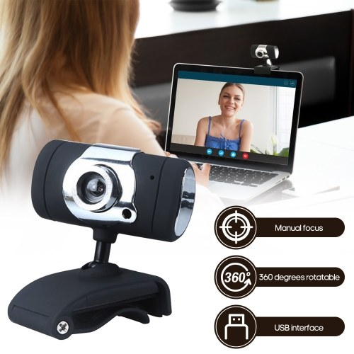 USB 2.0 480P High-definition Web Camera with Microphone Clip-on Base Drive-free for Laptop Desktop