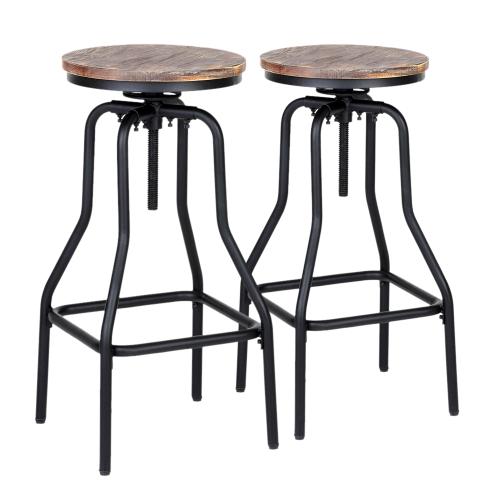 Tabouret haut style industriel assise en bois hauteur r glable lot de 2 for Tabouret haut reglable hauteur