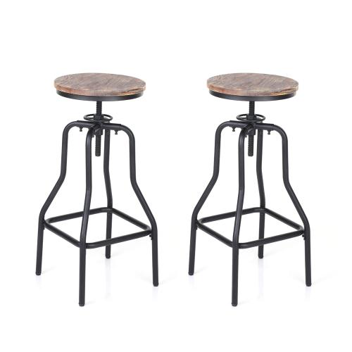 iKayaa Lot de 2 Tabourets de bar de style industriel en bois et acier