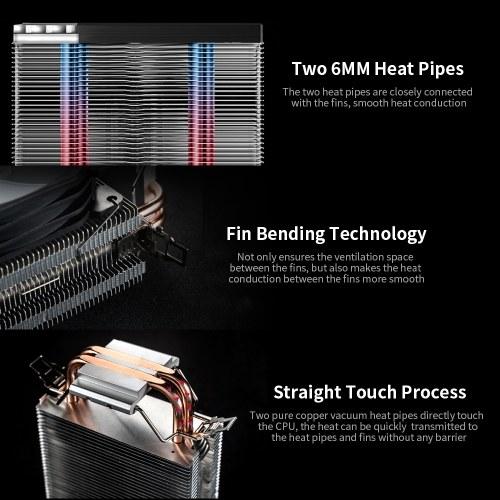 Jonsbo LED CPU Radiator CPU Cooling Fan 2 Heat Pipes Tower CPU Cooler CR-1200 for Intel LGA1200/Intel 1151/AMD AM4/FM2+