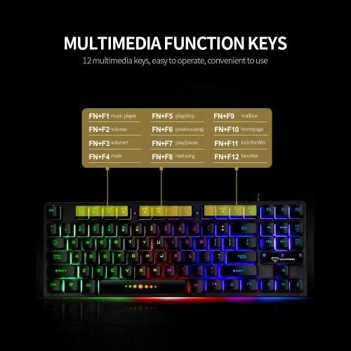 GK-10 USB Wired Keyboard Gaming Keyboard 87 Keys Colorful Backlight Keyboard Ergonomic Gaming Keyboard Black